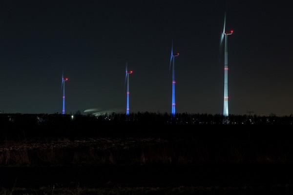 Wind turbines BMW Group plant Leipzig at night